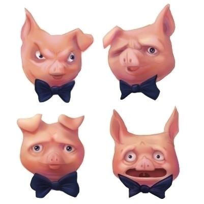 Pig Headed - pig, digitalpainting - meghan-1228 | ello