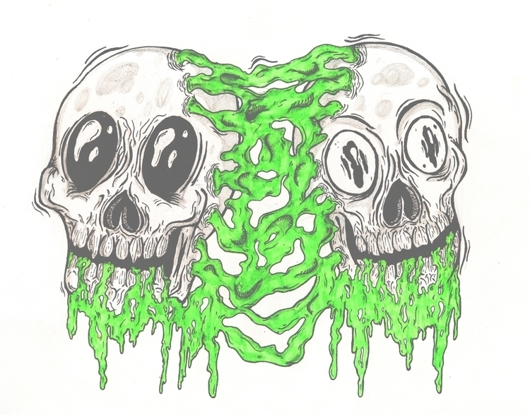 skull twins - illustration, paper - w8id | ello