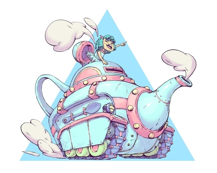 Teapot Tank - teapot, tank, illustration - tommonster | ello