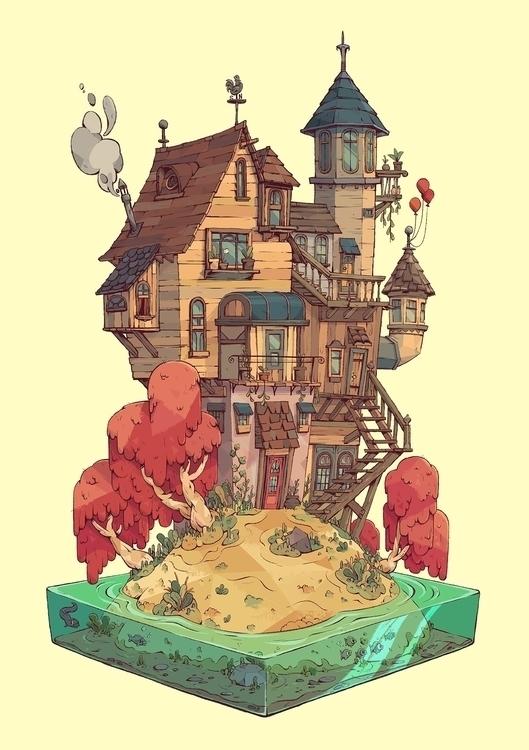 Dream House - illustration, house - tommonster | ello