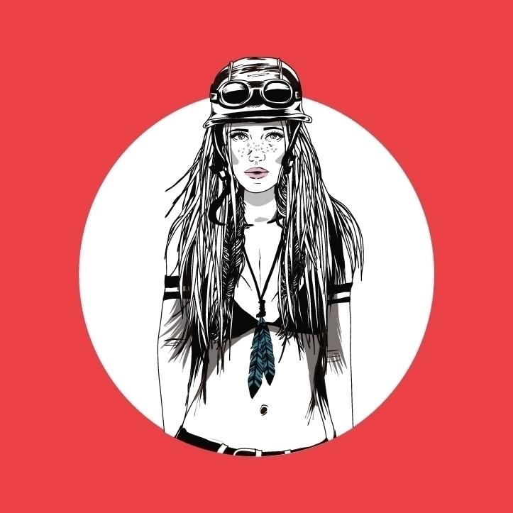 Moto girl - illustration, motorcycle - monicarrero | ello