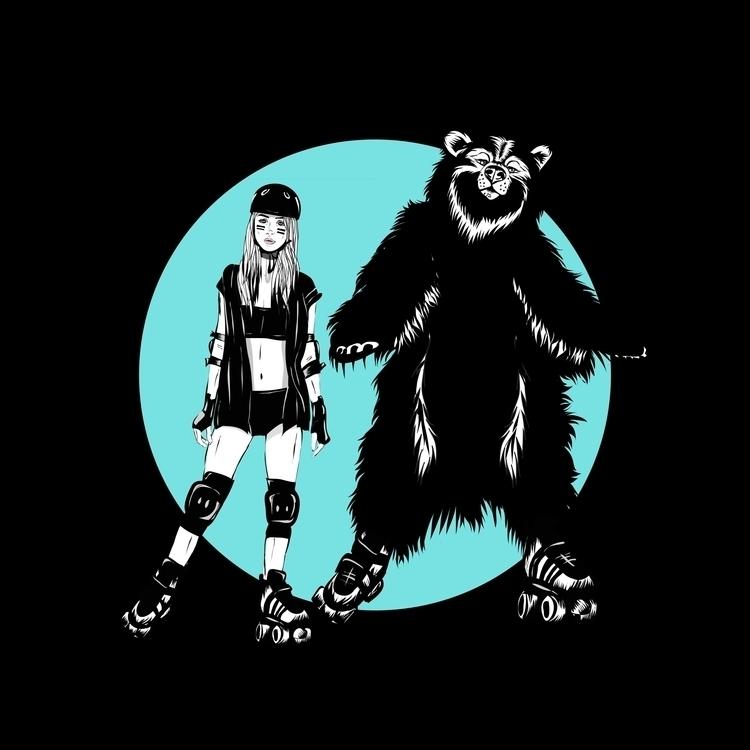 Roller girl bear - illustration - monicarrero | ello