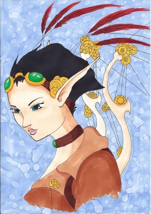 Steampunk Farie - illustration, copicmarkers - silverdragon19th | ello