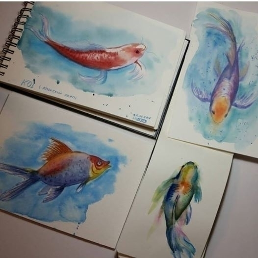 fish - illustration, painting, art - artolgash | ello