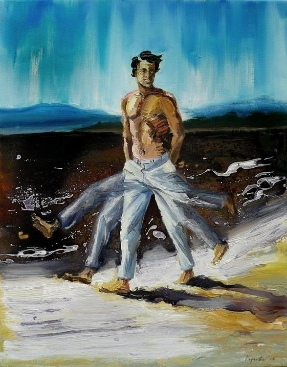 Running man, oil, varnish canva - lyube | ello