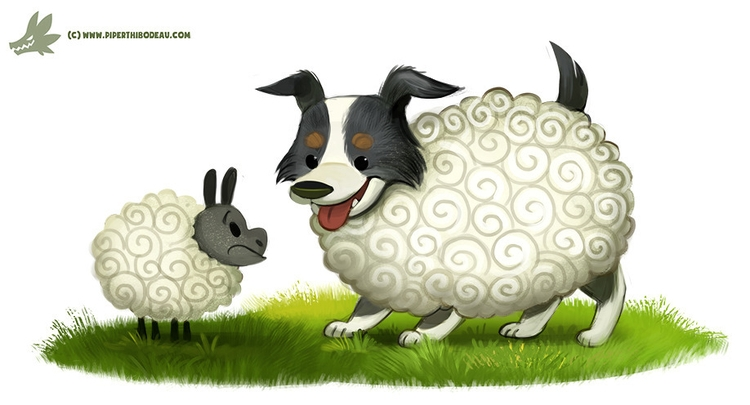 Daily Paint Sheepdog - 1176. - piperthibodeau | ello