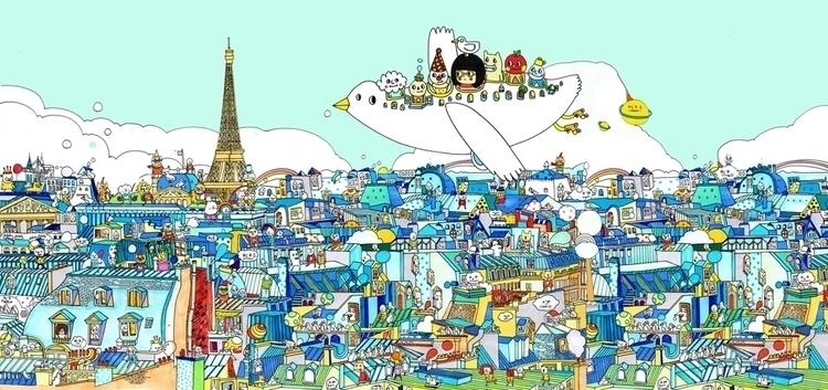 Rooftops Paris - paris, illustration - mei_yanlee | ello