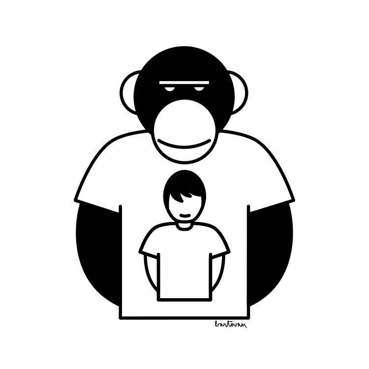 Monkey man tshirt - vector, minimalistic - bartovan-1056 | ello