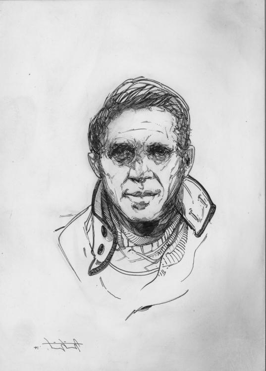 Steve Mcqueen pen ink board 5 7 - mrtnswft | ello