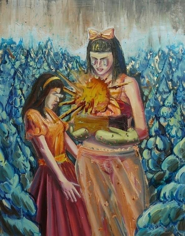 Sisters Box, oil varnish canvas - lyube | ello