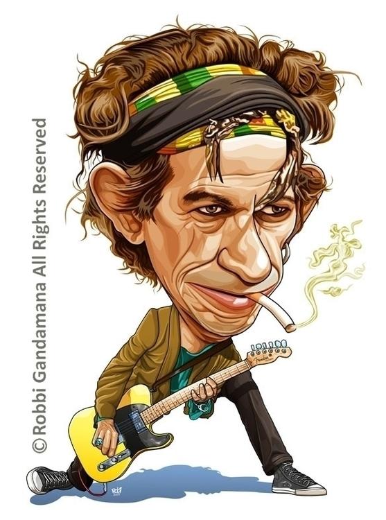 rock roll - illustration, keithrichards - robbigandamana   ello