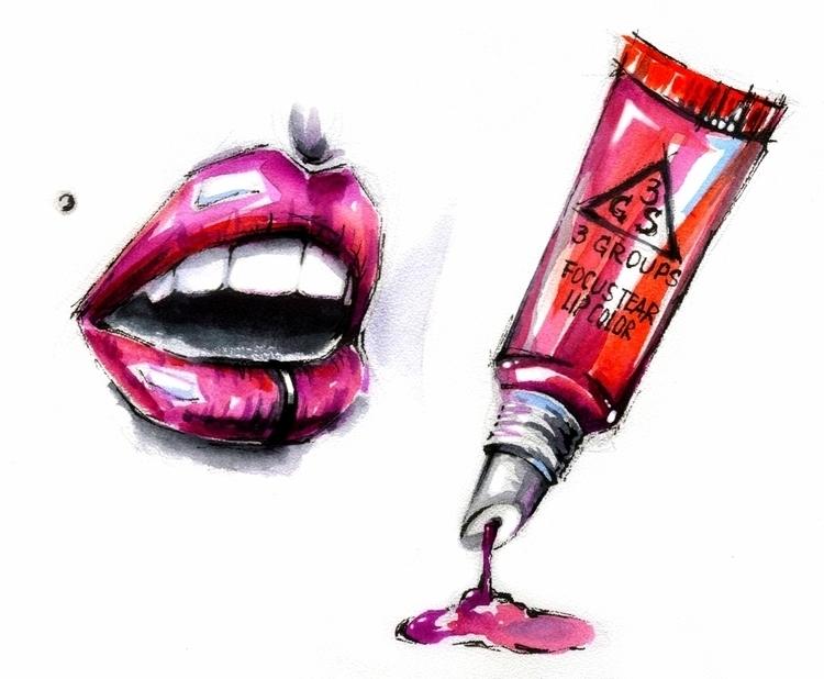 lips, illustration, painting - annagosteva | ello
