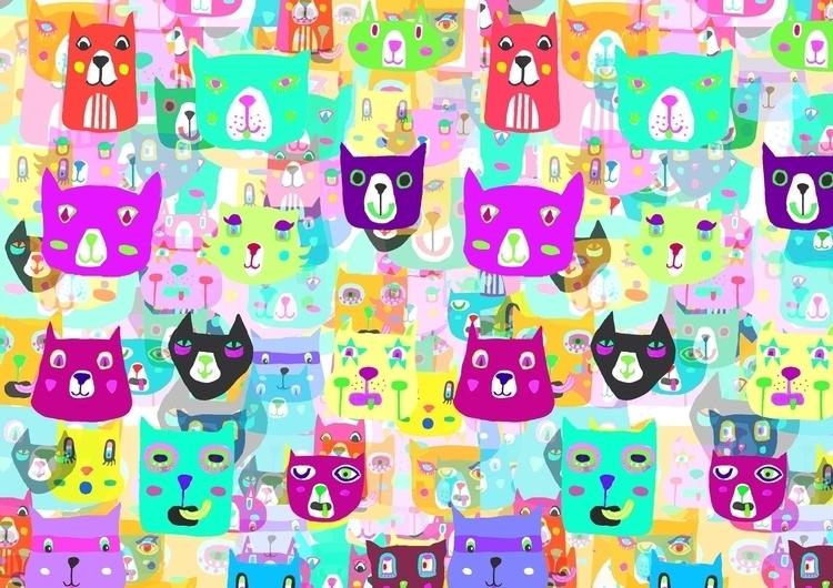 Rocking Rainbow Cats - pattern, feminine - saif-9654 | ello