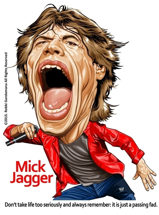 yeaahh - illustration, mickjagger - robbigandamana | ello