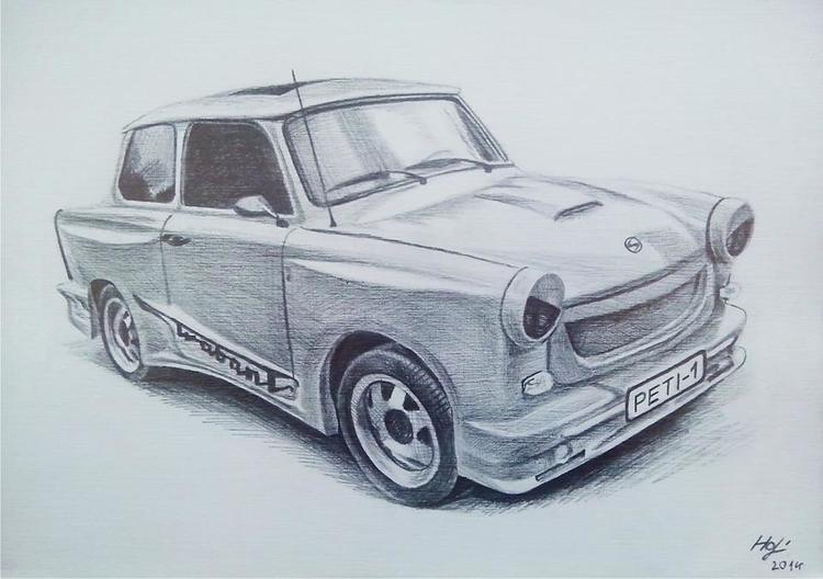 TRABI,pencil - drawing, car - spiritfc | ello