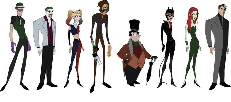 Bat-Badddies - characterdesign, jokerandharley - jdude93 | ello
