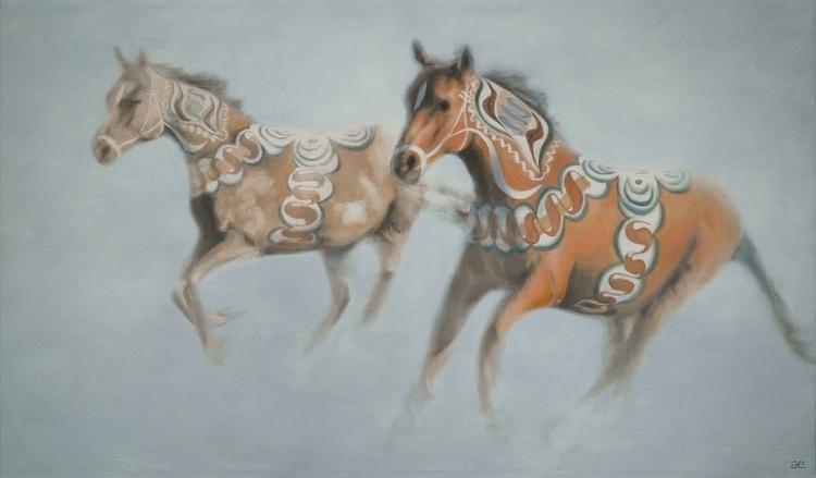 """Dalecarlia horses"" Oil canvas  - andreasenglund-4144 | ello"