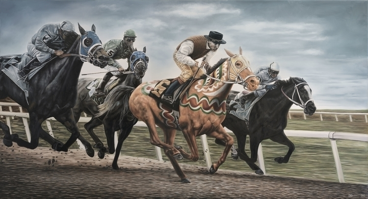"""Horse Race"" Oil canvas print - horse - andreasenglund-4144 | ello"