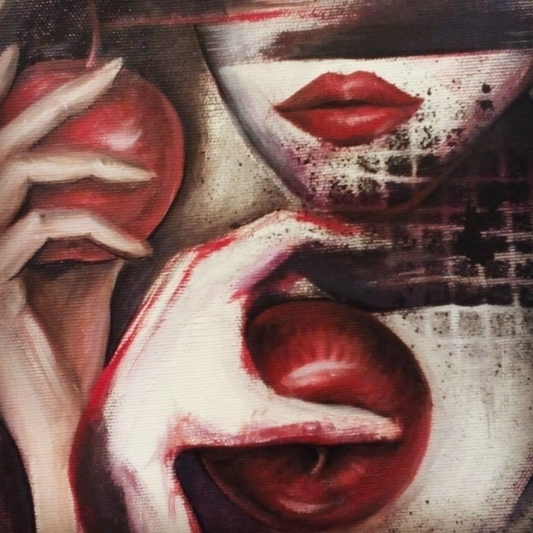 Double sin - painting, drawing, mixedmedia - jelenalazic   ello