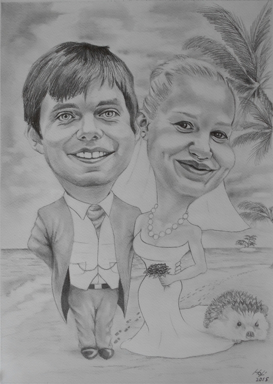 caricature, pencil - drawing, wedding - spiritfc   ello