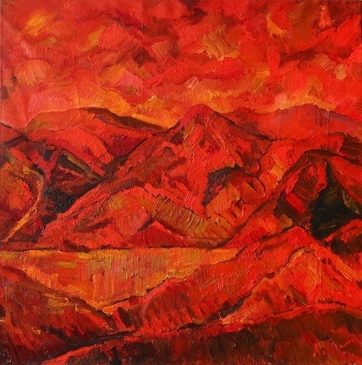 Red painting, 100/100, canvas  - antonbogatov | ello
