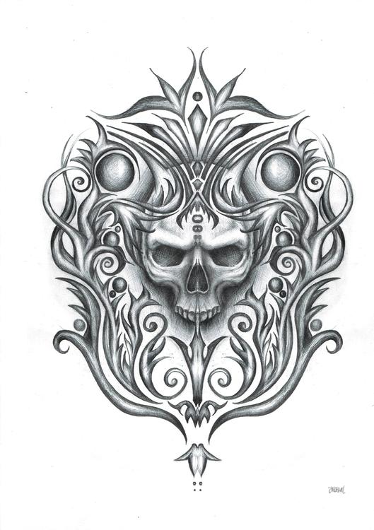 Skull ornaments - drawing, pen, pencil - jelenalazic   ello