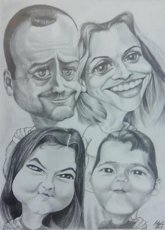 caricature, pencil - drawing, family - spiritfc | ello