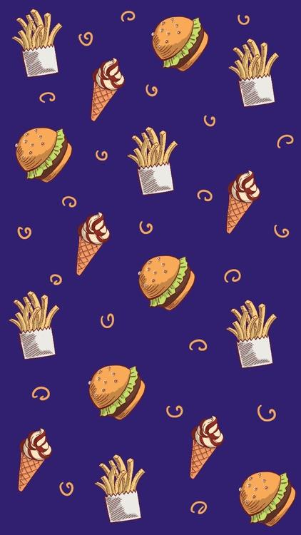 Fast food pattern - fast, burger - thisjustine | ello