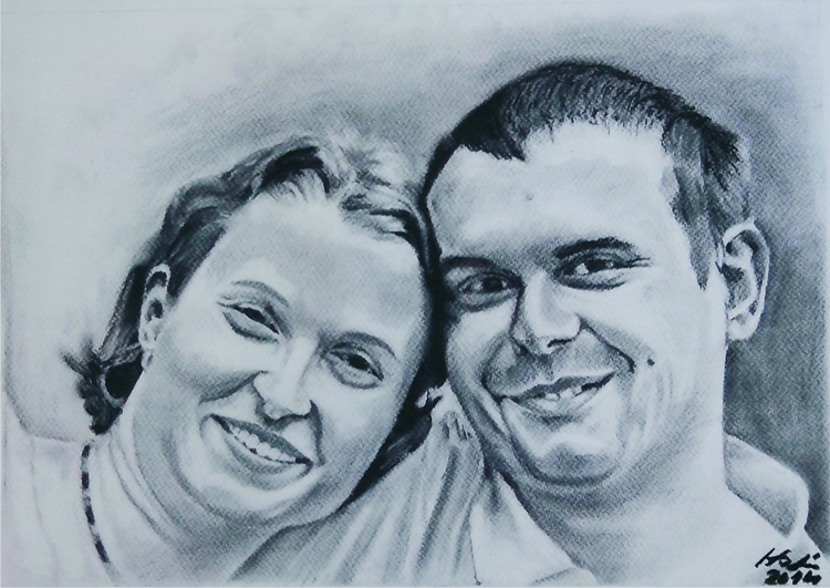 portrait, charcoal - drawing, wedding - spiritfc | ello