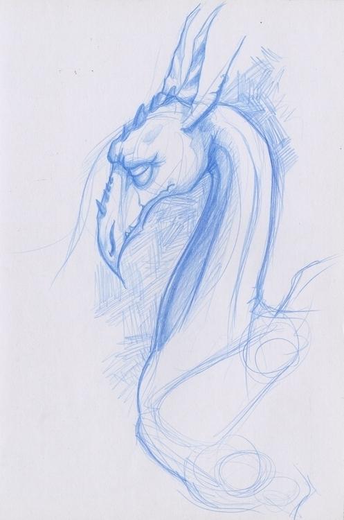 dragon, sketch, pencil - corinnavargas | ello