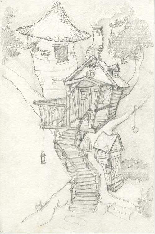 tree, treehouse, sketch, sketchbook - corinnavargas | ello