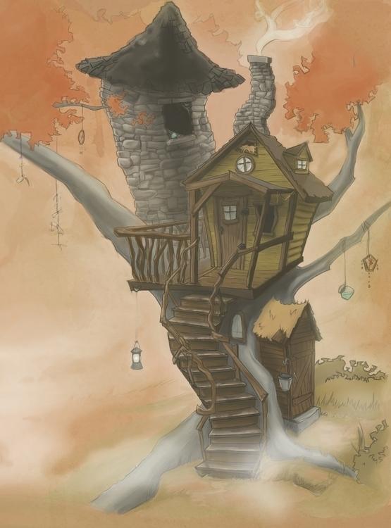 treehouse, tree, illustration - corinnavargas | ello