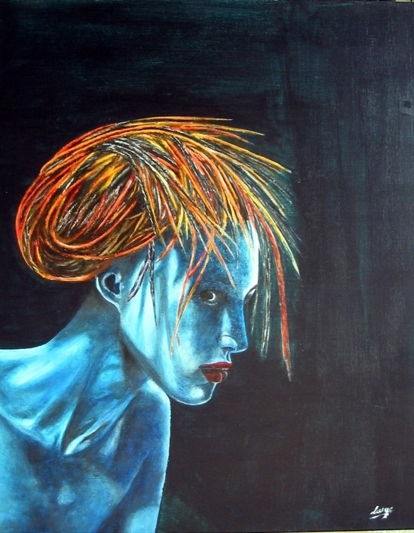 Blue Lady - painting, acrylicpaint - egral | ello
