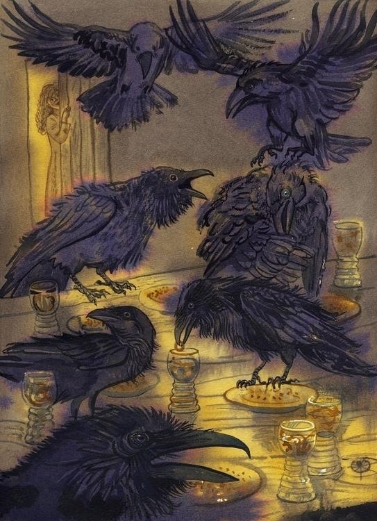 5 Ravens fairytale Grimm Brothe - naktisart | ello