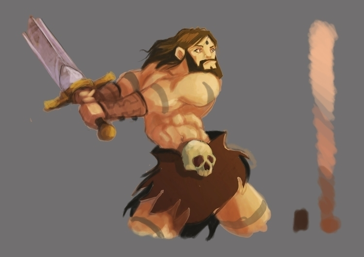 Barbarian - painting, characterdesign - pb-1050 | ello
