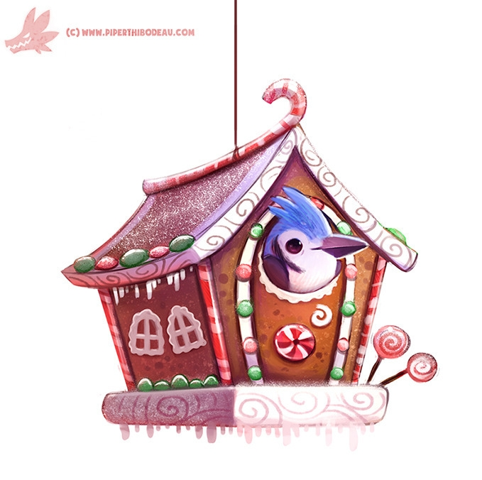 Daily Paint Ginger Bird House - 1124. - piperthibodeau | ello