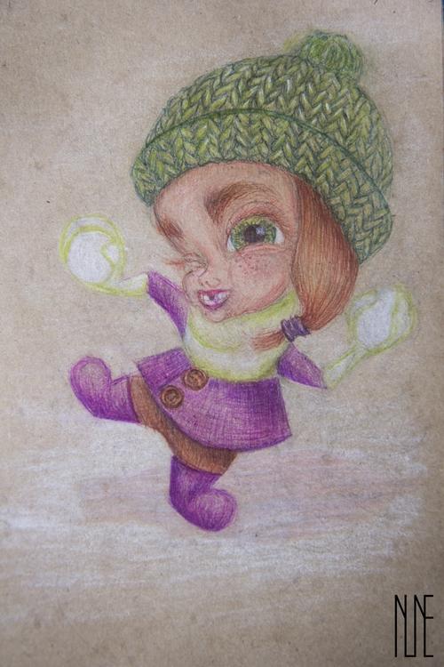 Full project - girl, snowball, winter - ninevehhevenin | ello