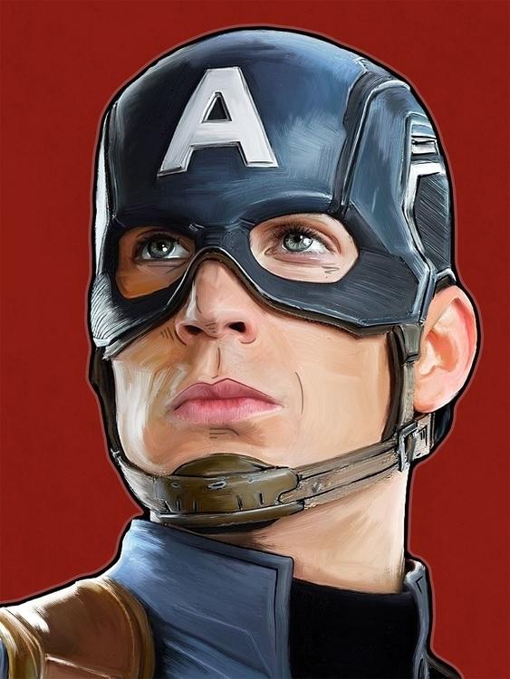 Captain America - illustration, painting - darrenwamboldt | ello