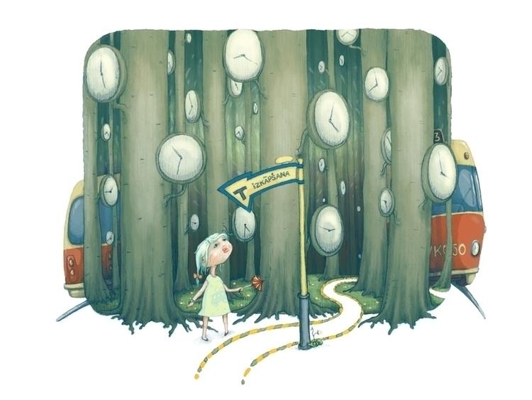 Girl woods - illustration - vk050 | ello