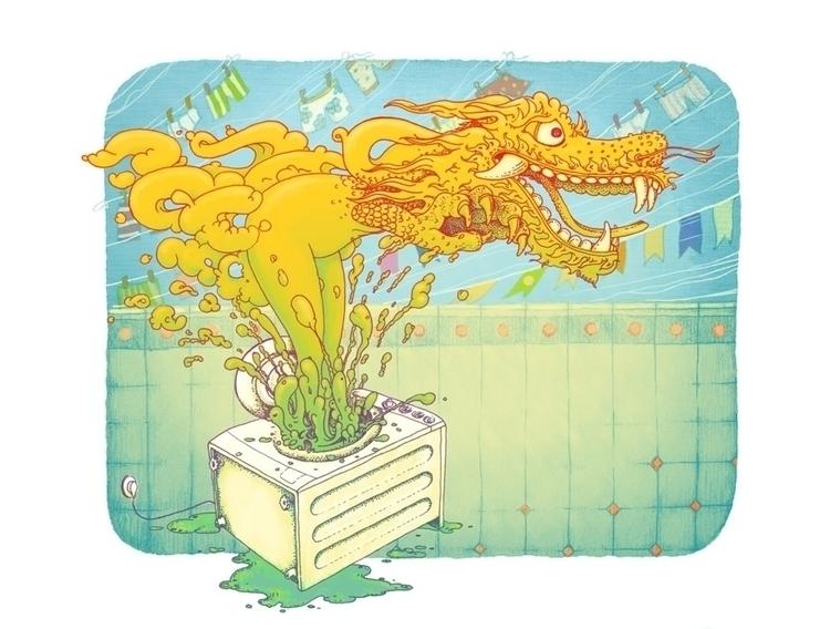 Demon washing machine - illustration - vk050 | ello
