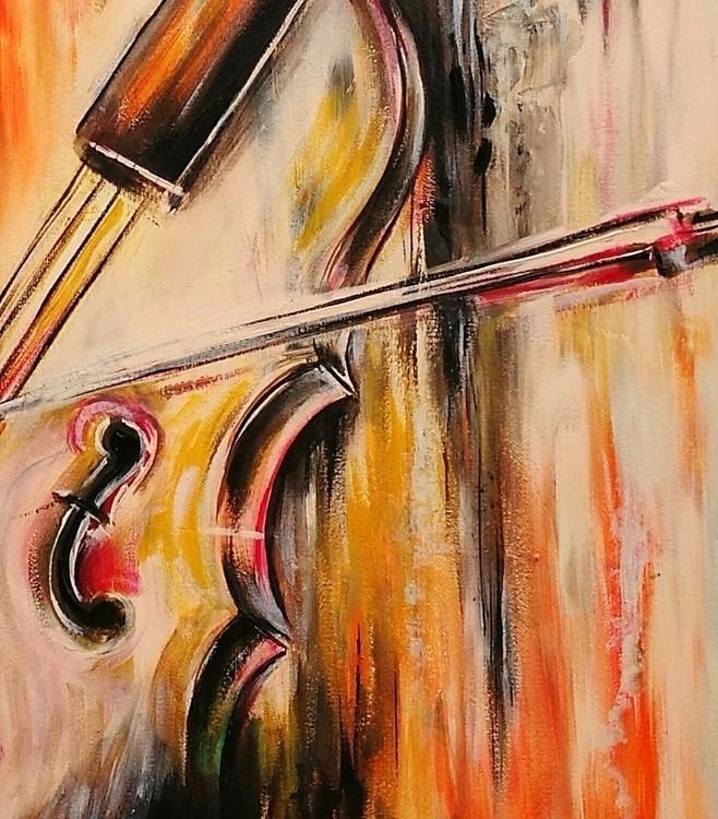 detail piece - violin, painting - littleredspirit   ello