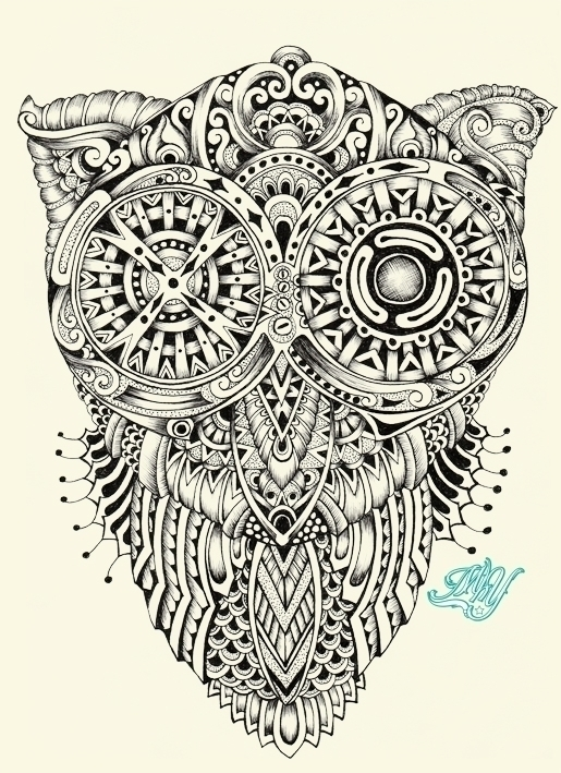 Owl - drawing, design, characterdesign - mhydesign | ello