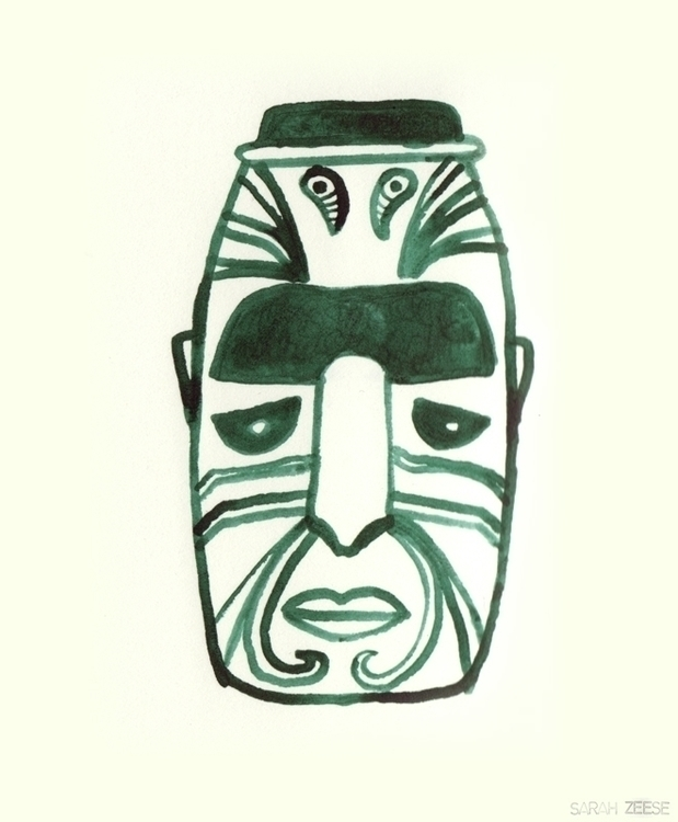 mask, maori, drawing, character - sarahzeese | ello