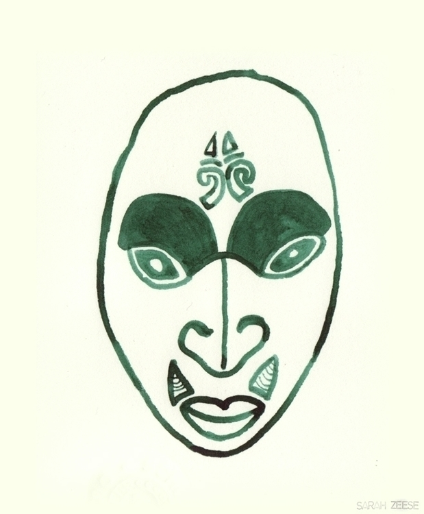 drawing, maori, mask, newzealand - sarahzeese | ello