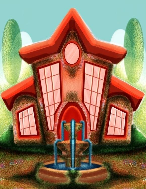 Orange House - illustration, painting - babetteara | ello