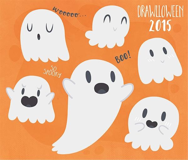 1 - Ghost - ghost, drawlloween, halloween - clairestamper | ello