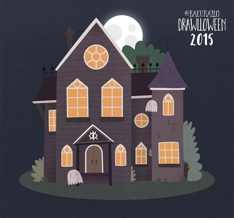 7 - Haunted House - drawlloween - clairestamper | ello