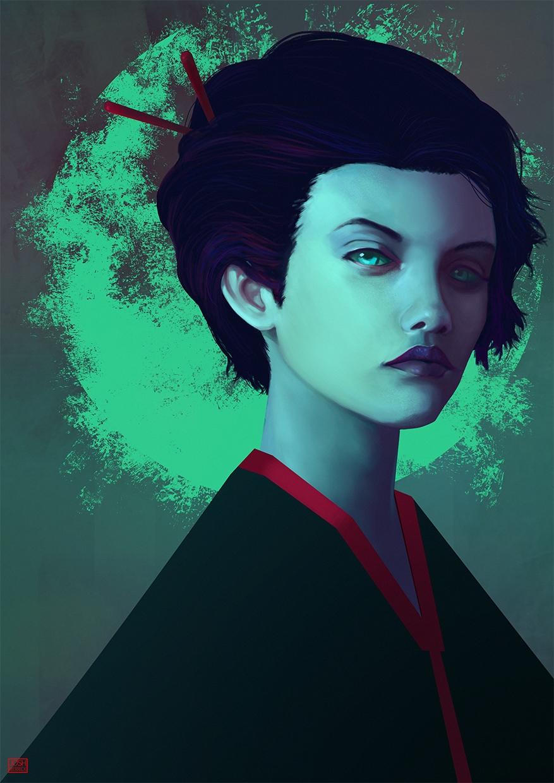 illustration, woman, painting - joshmerrick | ello