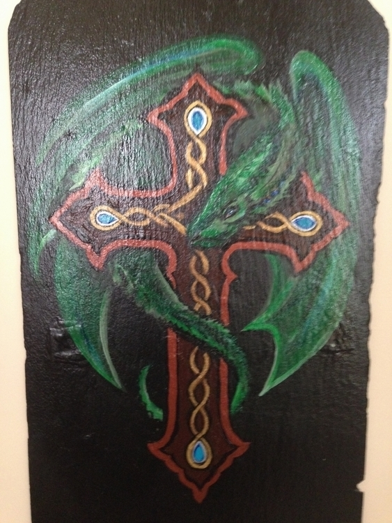 Celtic Dragon - #green#dragon#Celtic#cross#acrylic#slate - kpowell-1395 | ello