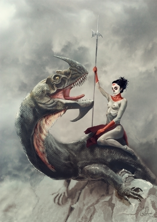 dragon rider - illustration, characterdesign - q2jacek | ello